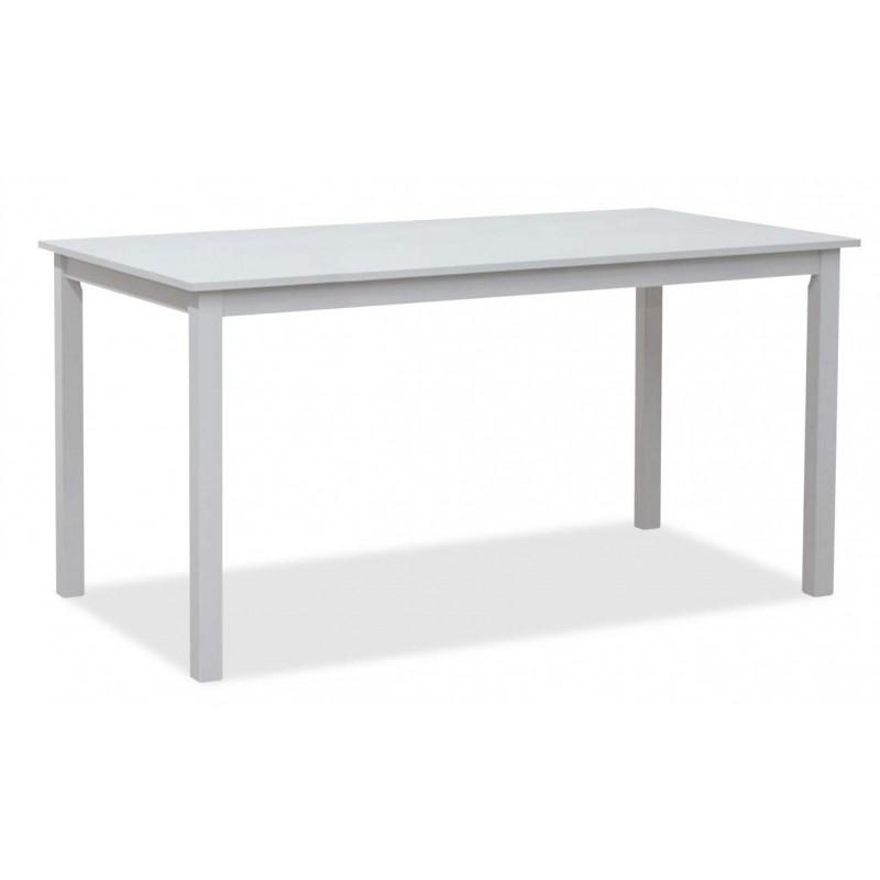 5702A Mesa de comedor rectangular 4 patas tapa fija acabado blanco roto.