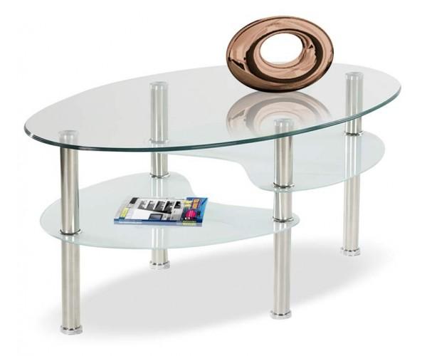 Mesa de centro diseño actual tapa cristal 85 X 55 cm.