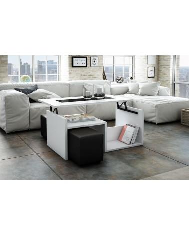 8181A Mesa de centro tapa elevable acabado Blanco y negro. Juego 2 pufs opcional.