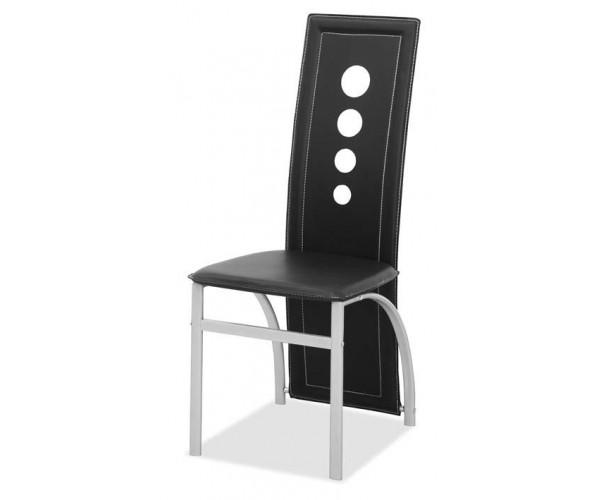 3866A Silla de comedor barata estructura metálica color plateado y by cast negro.