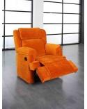8279 Sillón relax tapizado en microfibra color naranja.