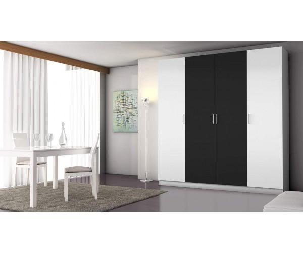 5394A Armario 4 puertas abatibles acabado blanco y negro.
