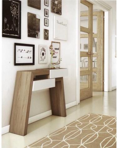 mueble recibidor económico moderno 2 cajones varios acabado a elegir
