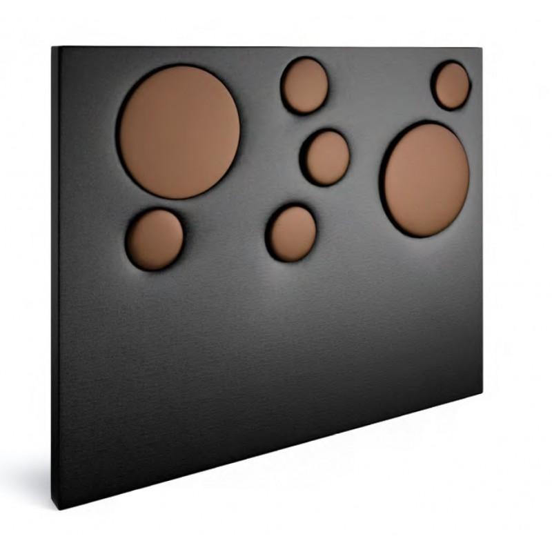 Cabecero polipiel serie PREMIUM Cubic. Acabado combinado Negro y detalles cobre.