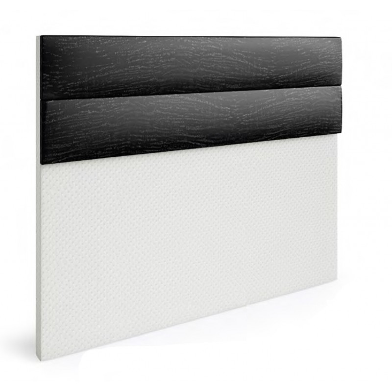 Cabecero polipiel serie Premium Dakota. Tapizado combinado base blanco y detalle negro.