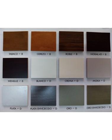 Carta de colores de barniz, colores de laca y detalles de molduras colección TOLEDO.