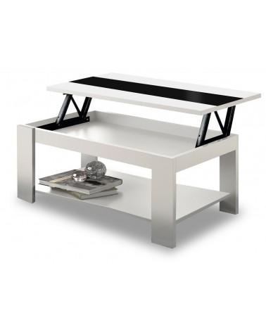 4347 Mesa centro rectangular tapa elevable acabado blanco cristal negro.