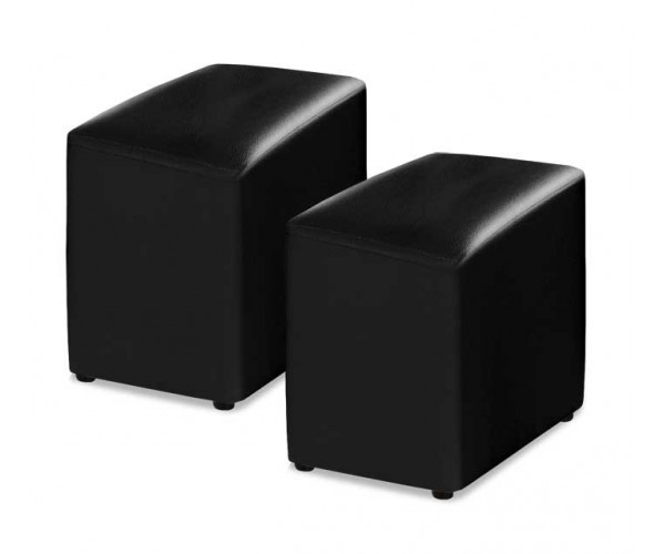 3611A Juego 2 pouff polipiel color negro.