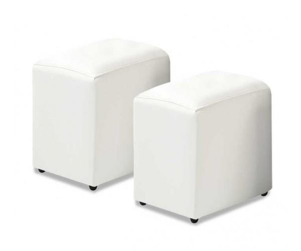 3612A Juego 2 pouff polipiel color blanco.