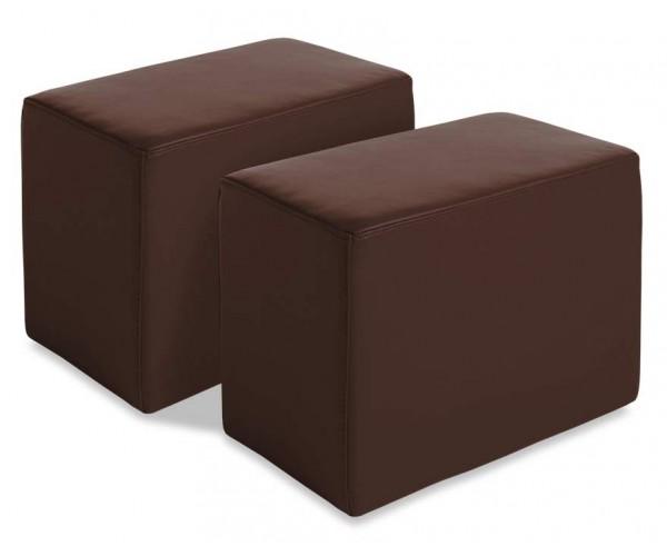 6056A Juego 2 pouf polipiel color chocolate.
