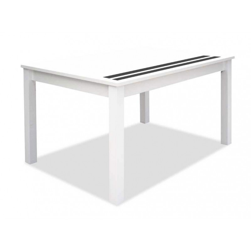 3282 Mesa comedor rectangular extensible. Acabado color blanco 2 cristales negros.
