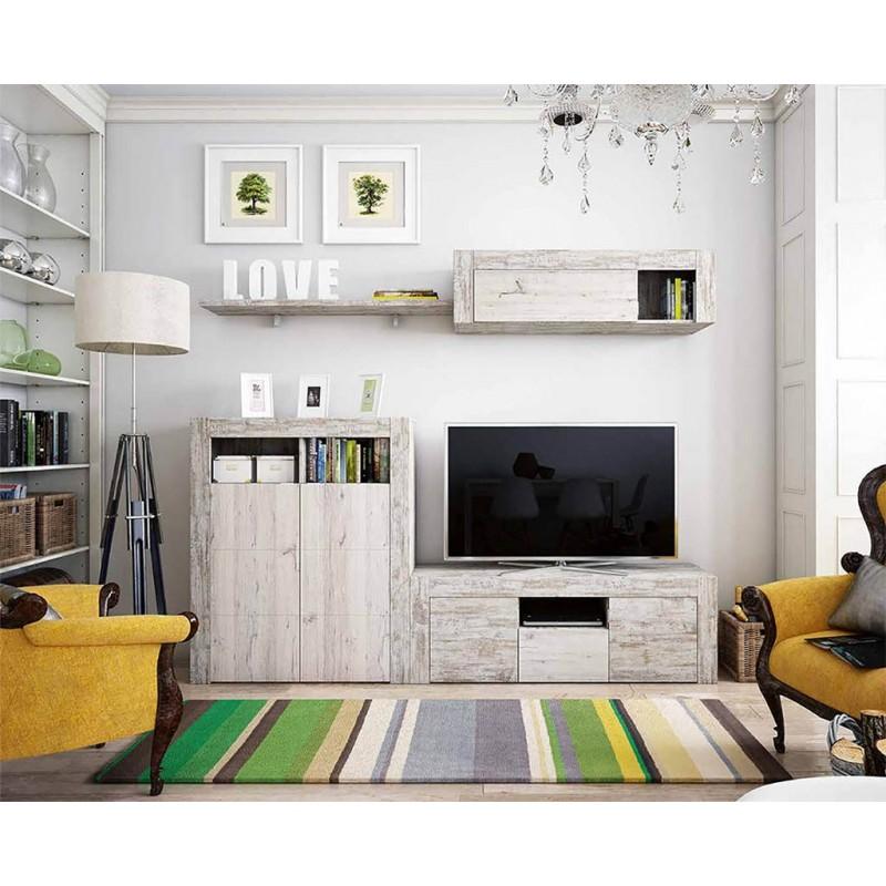 Apilable salón diseño moderno 240 cm. Acabado combinado colores VINTAGE y ÁRTICO.