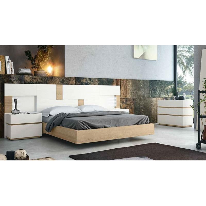 Dormitorio matrimonio compuesto por cabecero y dos mesitas. Acabado Blanco y Nórdico.