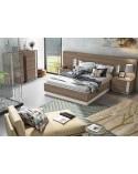 SFGZMSON04A Dormitorio matrimonio compuesto por cabecero 245 cm y 2 mesitas de 45 cm. Acabado Perkín y Ártico.
