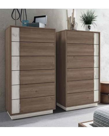 SFGZMSON04A Dormitorio matrimonio compuesto por cabecero 245 cm y 2 mesitas de 45 cm. Acabado Perkín y Ártico. Sinfonier opciona