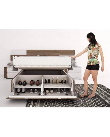 SFGZMSON04A Dormitorio matrimonio compuesto por cabecero 245 cm y 2 mesitas de 45 cm. Acabado Perkín y Ártico. Detalle canapé.