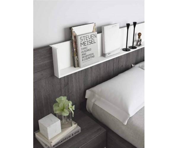 SFGZMSON06 Dormitorio matrimonio diseño moderno 245 cm. Bancada cajonera y cómoda opcionales. Detalle estantería saliente.