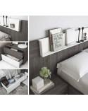 SFGZMSON06 Dormitorio matrimonio diseño moderno 245 cm. Bancada cajonera y cómoda opcionales. Detalle mesitas y bancada.