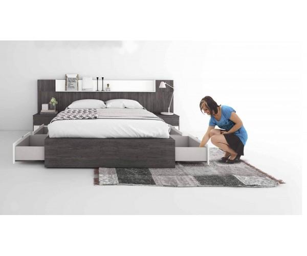SFGZMSON06 Dormitorio matrimonio diseño moderno 245 cm. Bancada cajonera y cómoda opcionales. Detalle bancada.