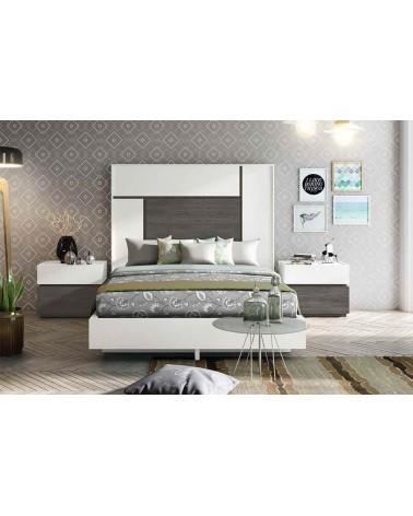 """COMBINACIÓN """"B"""". Dormitorio matrimonio compuesto por cabecero y dos mesitas 2 cajones. Acabado Blanco y Azabache."""