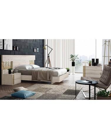 Dormitorio matrimonio diseño moderno 245 cm. compuesto por cabecero y dos mesitas 2 cajones. Acabado Ártico y Nórdico.