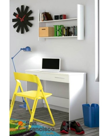 Mesa de estudio barata modelo Eko color blanco.