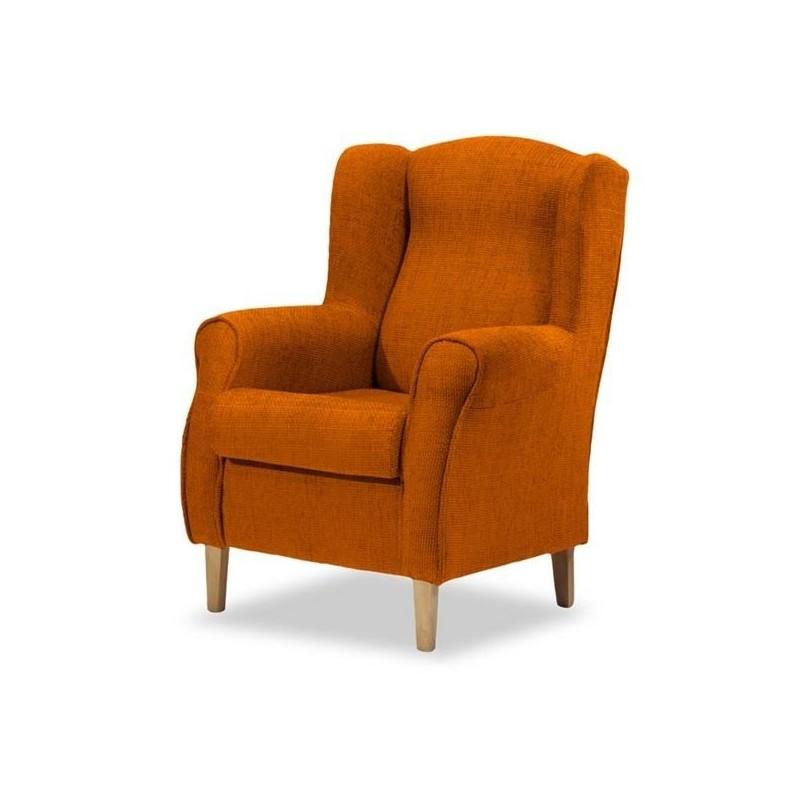 6901 Sillón orejero tapizado chenilla color naranja.
