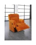 Sillón relax económico tapizado en chenilla color naranja.