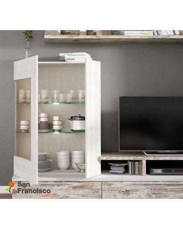 Apilable salón diseño moderno barato 275 cm acabado blanco nordic y vintage. Iluminación Leds opcional. Detalle vitrina.