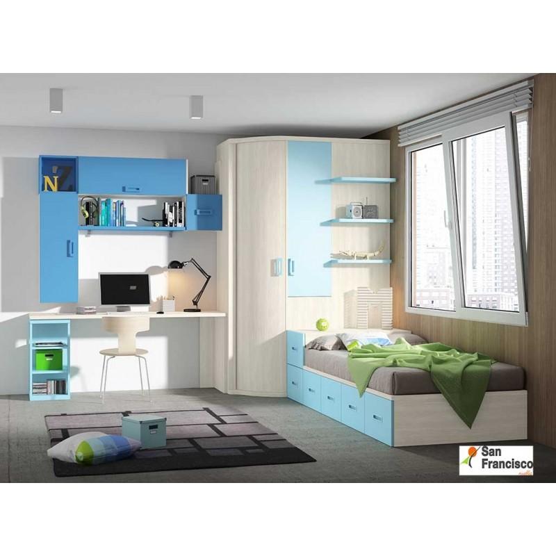 dormitorio juvenil gama premium. Máxima calidad. Alta capacidad. Total personalización.
