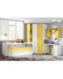 dormitorio juvenil a medida económico de 357cm acabado Blanco, Amarillo y Nevada.