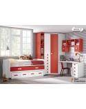 dormitorio juvenil a medida económico de 357cm acabado Blanco, Rojo y Nevada.