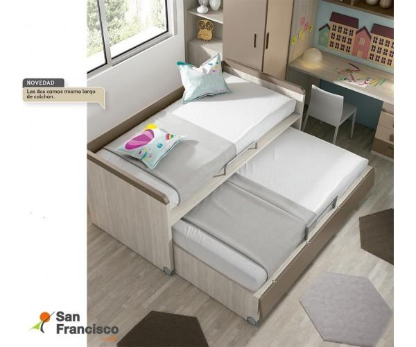 Compacta juvenil económica con 3 camas de 202cm. Alta calidad. Máxima capacidad. Acabado Fresno, Marrón y Moka. Detalle cama ext