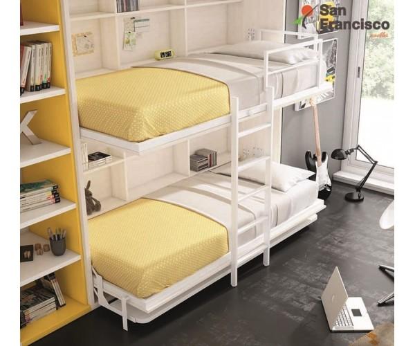 Doble cama abatible juvenil de 206cm. Gama alta. Máxima calidad.