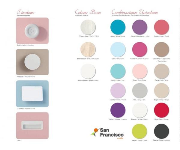 Carta de colores base, combinación y tiradores.