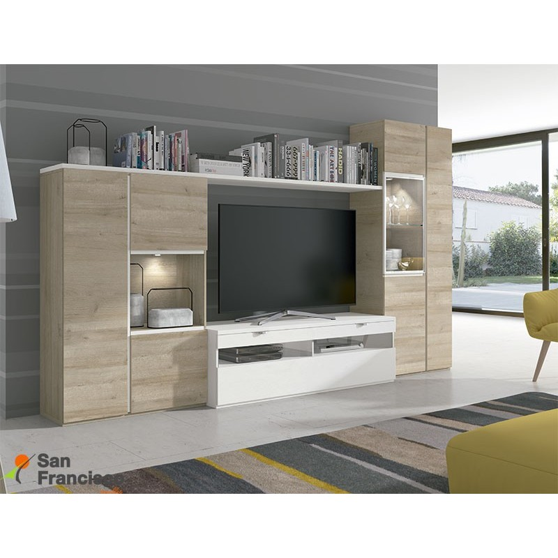 Apilable salón diseño moderno económico de 315cm. Acabado Natural y Blanco poro. Iluminación LED opcional.
