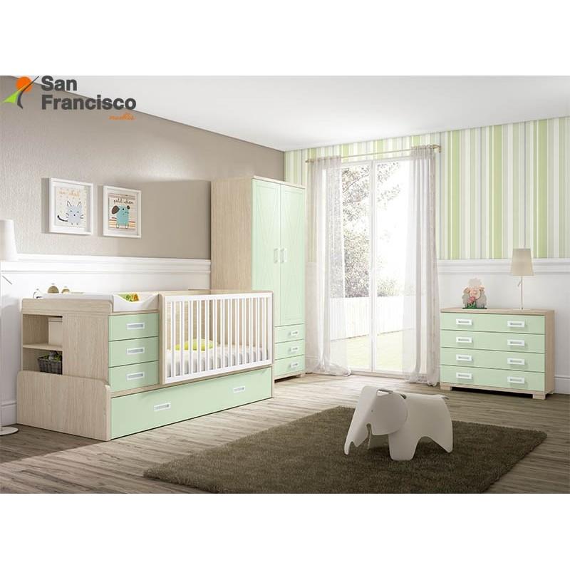 Cuna compacta transformable con cama de arrastre. Armario, comodín y colchón cuna opcionales