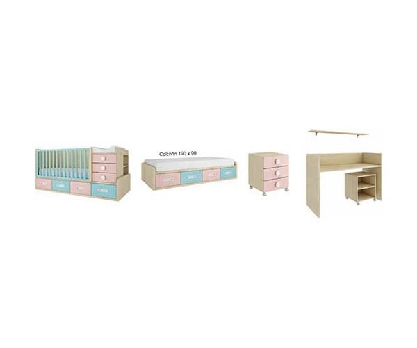 Transformación de la cuna compacta en dormitorio juvenil.