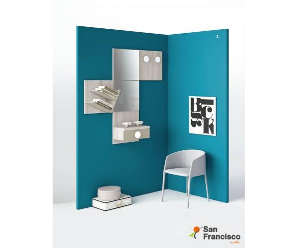 Original recibidor con 1 cajón, perchero, espejo y estantería