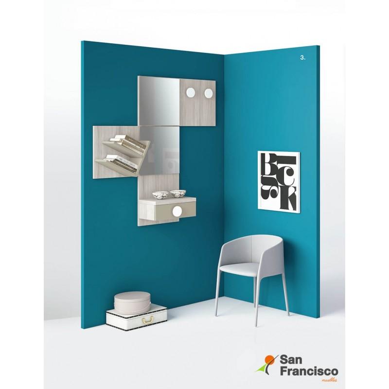 Original mueble recibidor colgado económico y personalizable. Varios acabados a elegir.