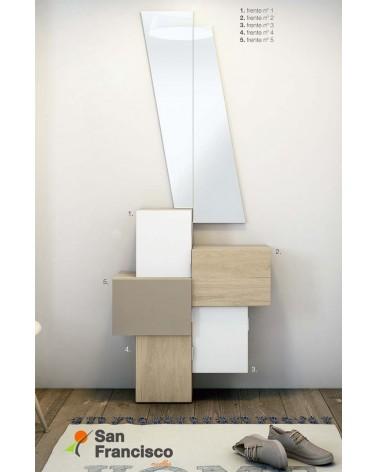 Original mueble recibidor económico 5 puertas con espejo diseño moderno.