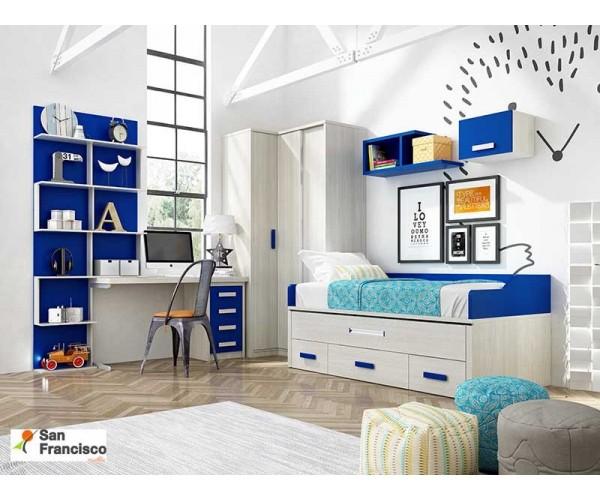 Dormitorio Juvenil a medida Color Arce y Azul