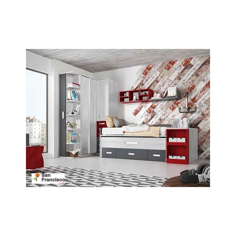 Mesa extraible juvenil dormitorio juvenil rojo muebles for Catalogo de muebles juveniles