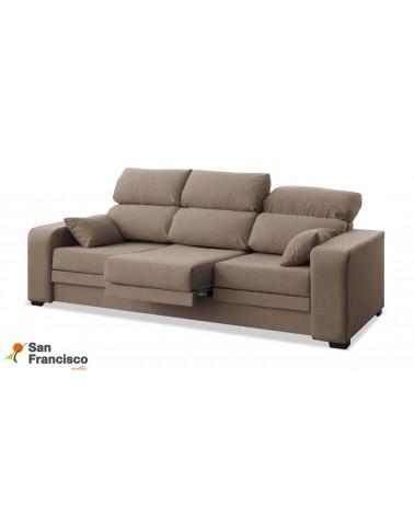 Sofá 3 plazas barato reclinable, extensible y desenfundable 220cm. Tapizado microfibra Velvet 3 Beige.