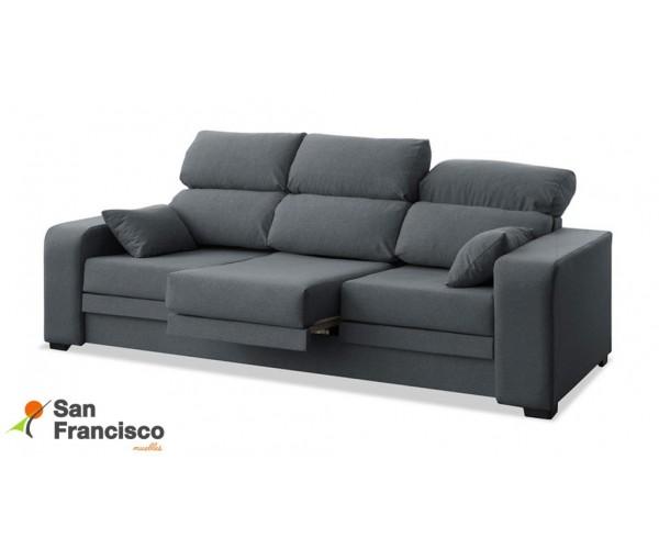 Sofá 3 plazas barato desenfundable, reclinable y extensible tapizado Gris