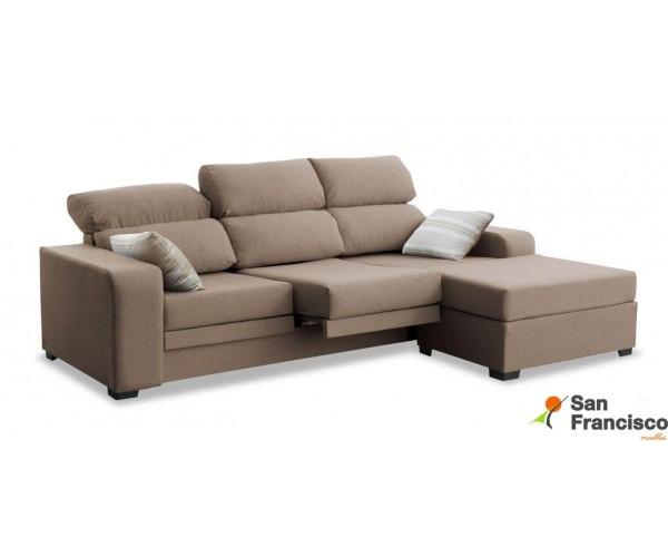 Sofá chaise longue de 220cm económica, reclinable, extensible y desenfundable. Puf suelto reversible. Tapizada microfibra lavabl