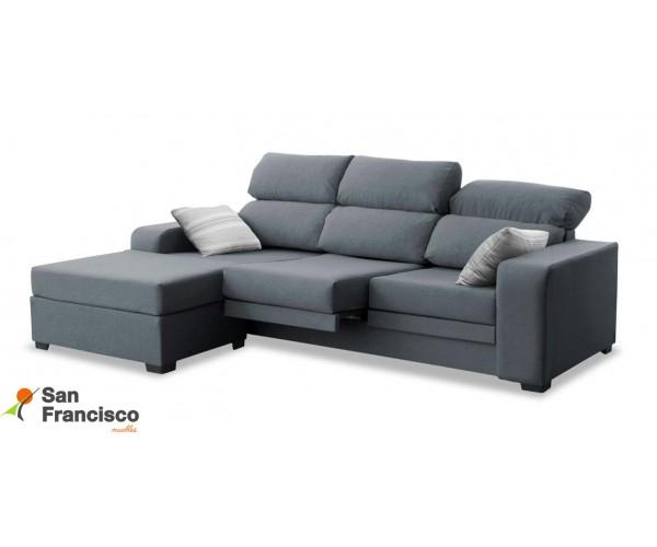 Sofá chaise longue de 220cm económica, reclinable, extensible y desenfundable. Puf suelto reversible. Tapizada microfibra Azul
