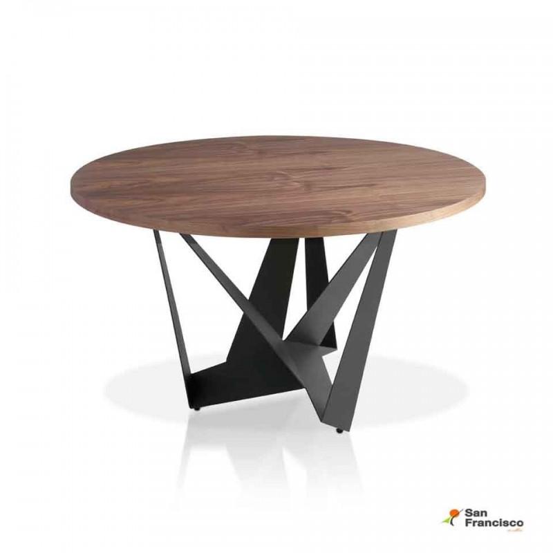 Mesa redonda tapa madera de Nogal 150cm