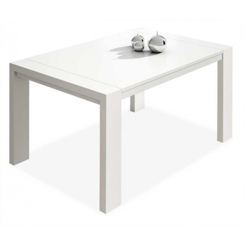 7061 Mesa comedor rectangular extensible. Acabado color blanco.