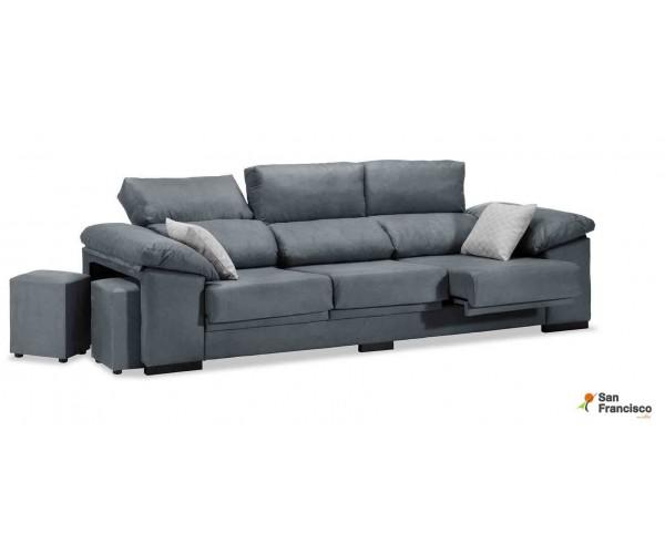 Sofá 3 plazas buen precio reclinable y extensible tapizazo microfibra velvet 9 gris.